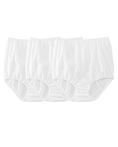 Dixie Belle Dixie Belle Silky Lace Trim Panty, 3 pk, White, 9, - Belle Womens Briefs