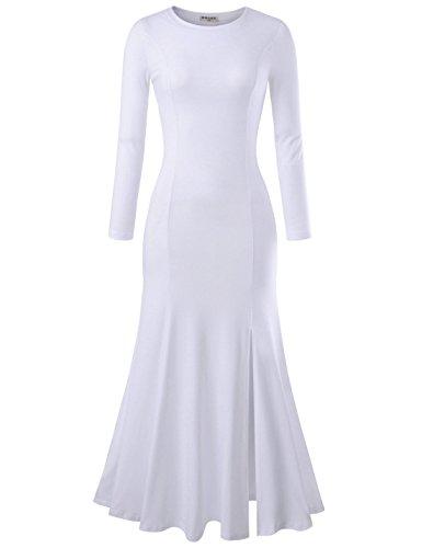 - NEARKIN NKNKWLD18 Womens Round Neck Trendy Slit Design Mermaid Maxi Dress White US XL(Tag Size 2XL)