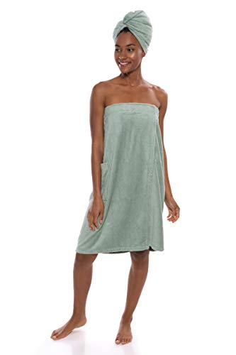 Bamboo Viscose Spa Wrap Set by Texere (The Waterfall, Lily Green, Large/X-Large) Presents for Ladies and Teens Who Have Everything WB0103-LGN-LXL ()