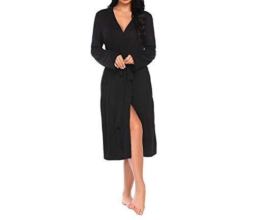 Long Women Robe Sleepwear Long Sleeve Solid Kimono Comfort Bathrobe Spa Robes Night Sexy Dressing,Black,XXL