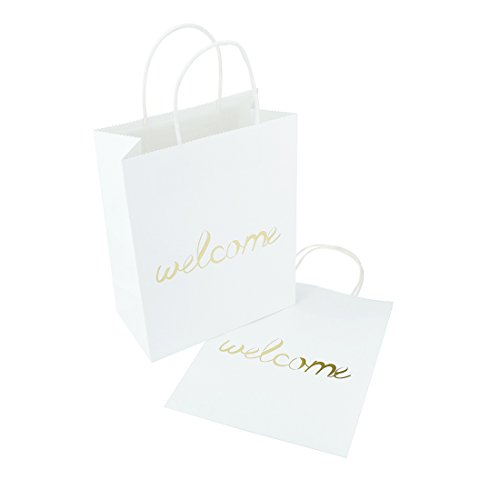 FOONEA Set of 12 White Kraft Paper Gold Foil Welcome Gift Bags for Destination Wedding Party Favors, Hotel Guests