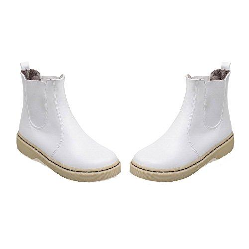 AllhqFashion Mujeres Caña Baja Sin cordones Mini Tacón Botas Blanco