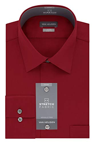 Van Heusen Men's Dress Shirts Fitted Lux Sateen Stretch Solid Spread Collar, red, 16.5