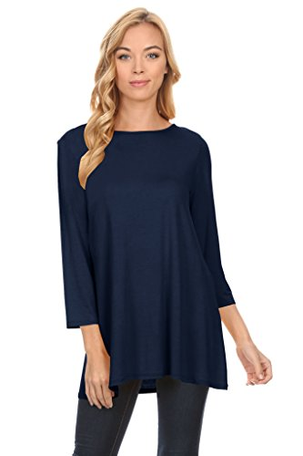 Womens Navy Tunic Long Flowy Loose Tunic Round Neck Tunic Tops