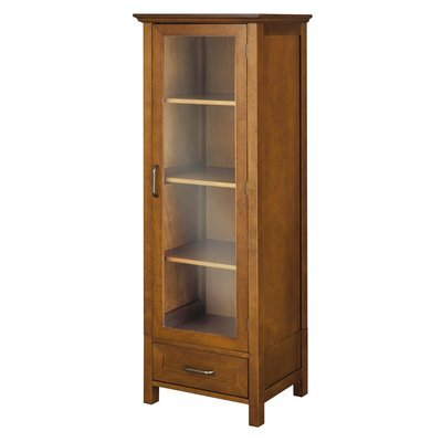 Elegant Practical Linen Tower, Wood Construction, Ample Storage Space, Tempered Glass Door, Oil Oak Finish by Jaxterrific (Image #2)