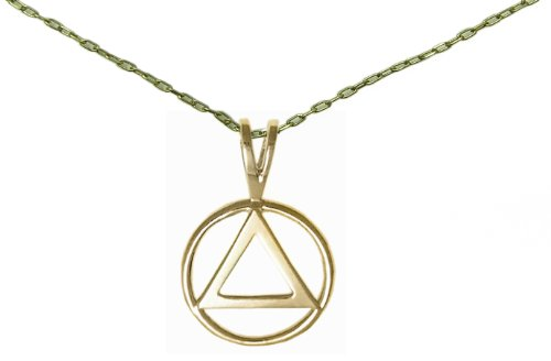 Alcoholics Anonymous Jewelry,#1232, $11.50-$12.50 Set of AA Antiqued Brass Classic Pendant #01 w/Chain, Chain Available in 3 Sizes(20