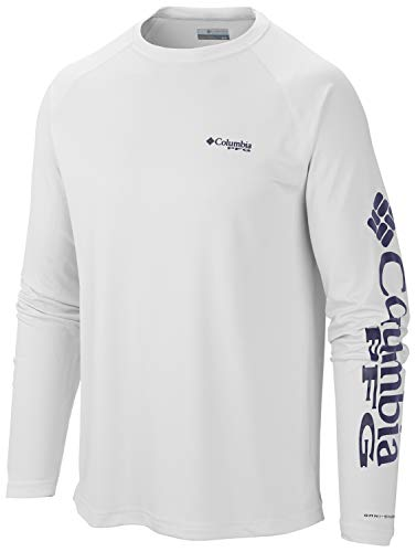 Columbia Men's PFG Terminal Tackle Long Sleeve Tee , White/Nightshade Logo, - White Bomb T-shirt