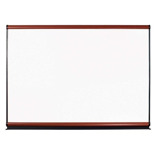 Quartet Connectable Modular Systems-Magnetic Porcelain Dry-erase Surface,6'x4',Mahogany Frame