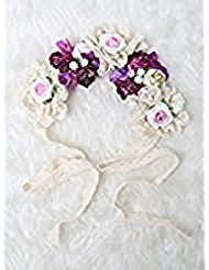 Hippie Costumes Applique Set (Be gorgeous flowers headband /Rose Crown/Bohemian style (Purple))