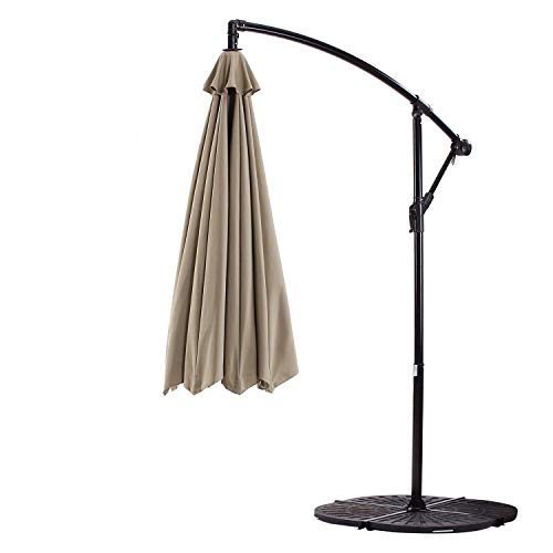 Formosa Covers Replacement Umbrella Canopy for 10ft 8 Rib Hanging Market Outdoor Patio Shades in Taupe Ribs Length 58 to 60 (Canopy Only)