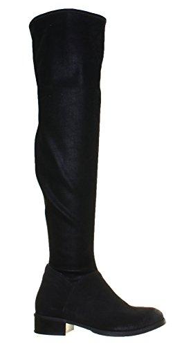mujer Justin bota Reece plana estiramiento cuero para 100 negro 66rEFwUq