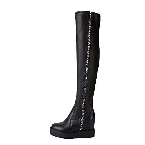 HooH Damen Diamanten Platform Höhe Zunehmende Stiefel Noir