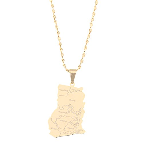Stainless Steel Gold Color Ghana Map Pendant Necklaces Ghanaian Jewelry