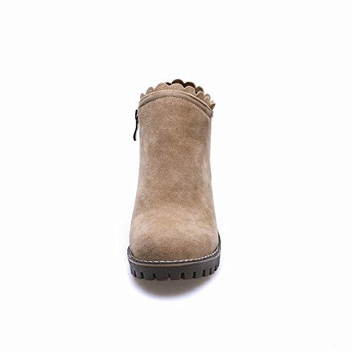 Mee Shoes Damen chunky heels Borte Reißverschluss Stiefel Beige