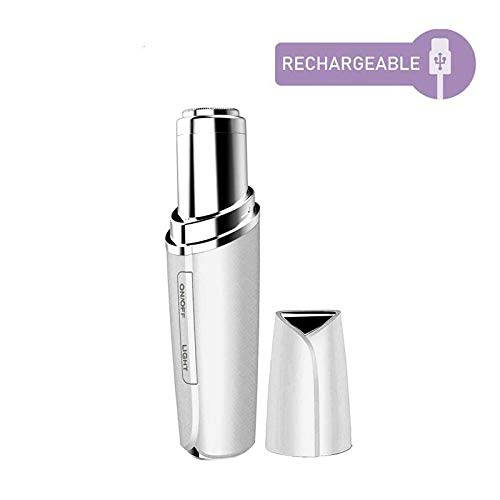 Facial Hair Remover for Women Rechargable-Painless-Precision Face Hair Removal, Mini Trimmer Shaver With LED Light (White)
