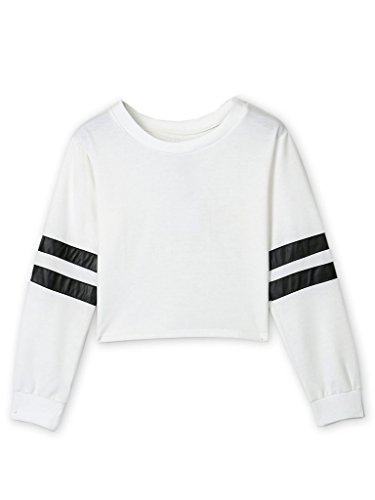 Cropped Womens Pullover (Joeoy Women's Casual Striped Long Sleeve Crop Top Sweatshirt White-S)
