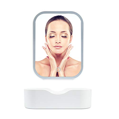 Protable Vanity Mirror with Lights- Travel Led Cosmetic Mirror with Storage Box -Touch Screen,Square,USB Cable or Battery Powered,Nature Light,Adjustable,Tabletop,Compact