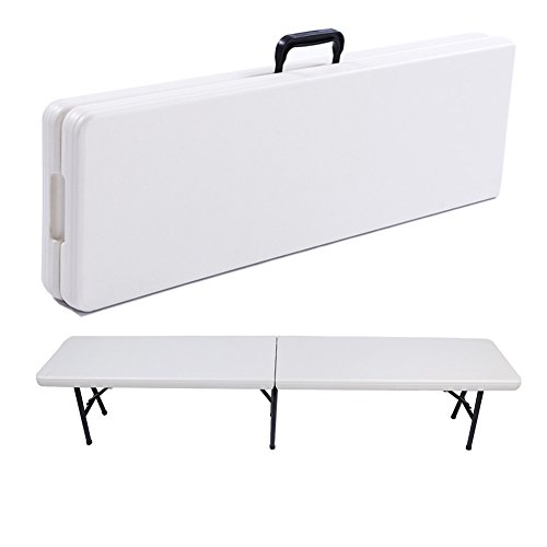 Fold in Half Bench,6' Resin Multi-Purpose Center Folding Bench with Carrying Handle,Portable Folding Picnic Bench Indoor Outdoor Picnic Party Camping Dining Folding Bench