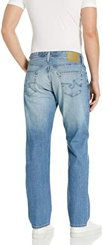 31Pm0abkOyL. AC AG Adriano Goldschmied Men's The Graduate Tailored Leg Denim Jean    Slim straight-leg jeans are cut from premium Japanese stretch denim in a faded light wash that's perfect for any casual occasion.