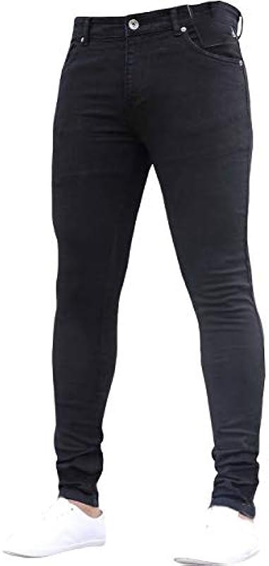 Vawal Męskie dżinsy slim fit stretch skinny zerwany denim Denim Destroyed zwężane nogawki spodnie: Odzież