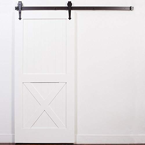 UKN White Oil Rubbed Bronze Barn Door with Arrow Sliding Hardware Brown Left Sided Right Metal Wood Includes
