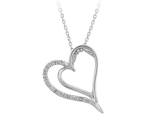 Pendentif Coeur de Diamant-Femme- or Blanc 205P0001