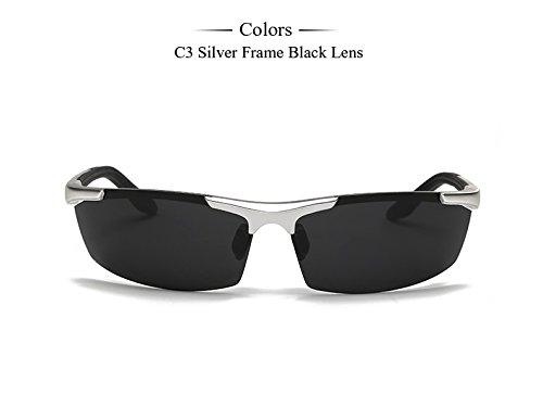 calidad color sol C3 magnesio Gafas gafas Frame de de C3 Hombres óculos Accesorios plata aluminio Silver Hombres marco gafas Hombres sol de polarizadas de alta TIANLIANG04 1HI0q5H