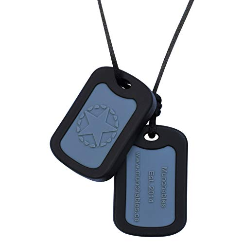 Munchables Chewable Dog Tags - Sensory Chew Necklace for Boys (Black)