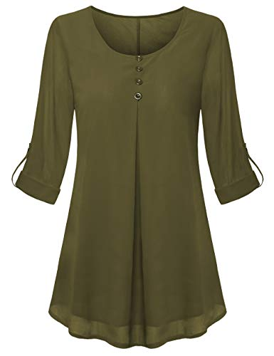 UXELY Marternity top Women's 3/4 Cuffed Sleeve Shirt Casual Double Layer Chiffon Pleated Flowy Loose Fit Swing Tunic Tops (Chiffon Green, XX-Large)