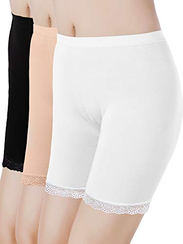 Skylety 3 Pieces Anti-Chafing Modal Panties Lace Yoga Shorts Stretch Underwears for Women and Girls, Black, White, Beige (S)