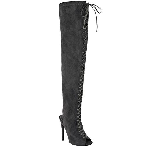 Mode Dorstige Dames Over De Knie Dij Hoge Vetersluiting Stilettos Hakken Laarzen Maat Grijs Faux Suède