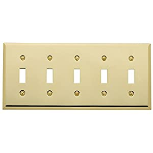 "Baldwin Estate 4775.030.CD Square Beveled Edge 5 Gang Toggle Switch Wall Plate in Polished Brass, 4.5""x10"""