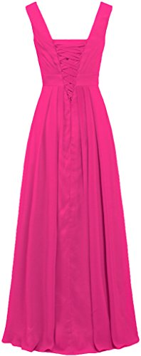 Straight Straps Prom Gowns Pink Dresses Chiffon Bridesmaid ANTS Formal Long Hot 5AxWqwE4pa