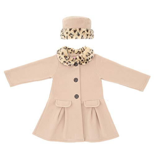 Animal Jacket Trim (Good Lad Camel Fleece Coat with Animal Fur Trim Collar and Matching Hat)