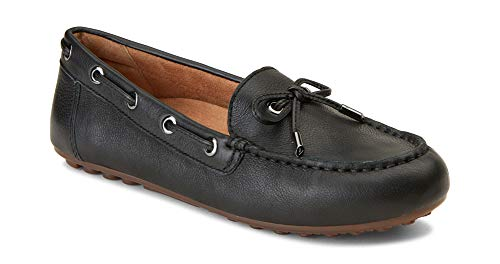 Vionic Women's Honor Virginia Loafer - Ladies Moccasin with Concealed Orthotic Arch Support Black Leather 11 M US ()