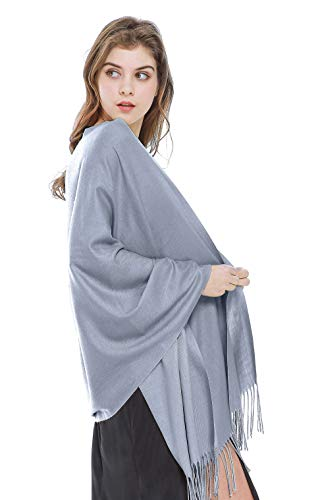 (Large Soft Silky Pashmina Shawl Wrap Scarf in Solid Colors Light Gray)
