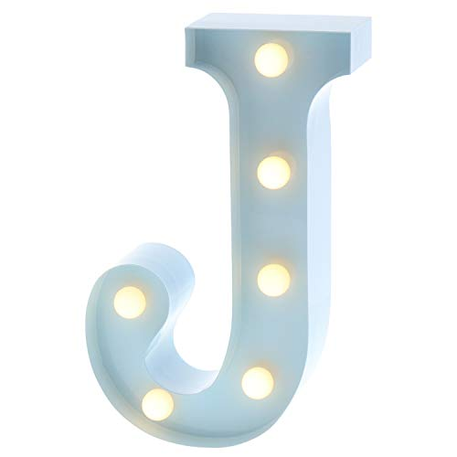 (Barnyard Designs Metal Marquee Letter J Light Up Wall Initial Nursery Letter, Home and Event Decoration 9