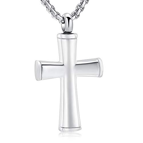 (Black Cross Cremation Necklace Hold Loved One's Ashes Memorial Urn Jewelry for Women Men Keepsake Necklace Pendant(Silver Tone))