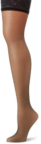 Hanes Silk Reflections Women's Lace Top Thigh High, Jet, C/D (High Thigh Top Sheer)