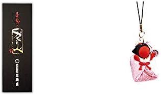 [2点セット] 岐阜銘菓 音羽屋 飛騨のかたりべ[6個入] ・おくるみさるぼぼ【ピンク】(布タイプ) 小 ストラップ / 子宝・安産祈願に //