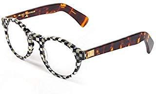 Multi Color Frames Reading Glasses - MacKenzie-Childs Round Reading Glass - Plastic Frame Checkered Print - Unisex - Multicolor 5.5