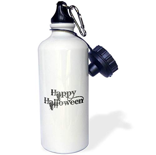 3dRose InspirationzStore - Occasions - Happy Halloween Grunge Grungy Scary Writing Font Dark Grey Text - Flip Straw 21oz Water Bottle (wb_318144_2) ()