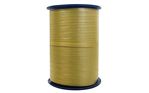 - 500 Yard Spool Gold Colored Crimped Finish Durable Poly Curling Ribbon.