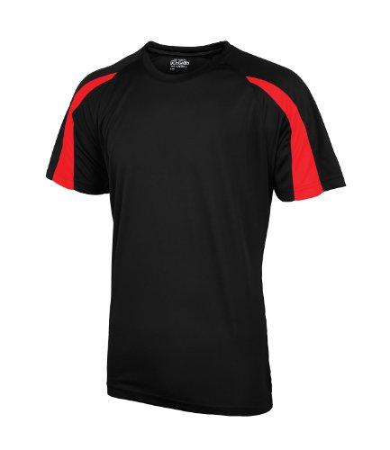 AWDis Herren T-Shirt Schwarz Jet Black / Fire Red