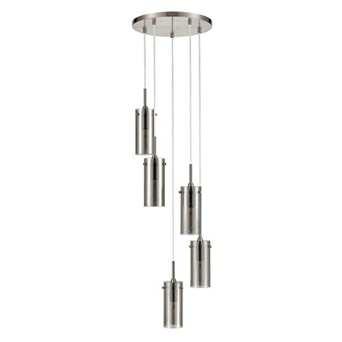 Effimero Multi Pendant Lighting for Kitchen Island | Brushed Nickel Chandelier Cluster Pendant 5 Light Fixture, Polished Smoked Glass Shade LL-C45-SMK-1BN (Pendants Polished Finish Nickel)