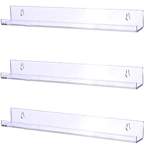 Sooyee 3 Pack 15 Inch Acrylic Invisible Kids Floating Bookshelf for Kids Room,Modern Picture Ledge Display Toy Storage Wall Shelf,Clear ()