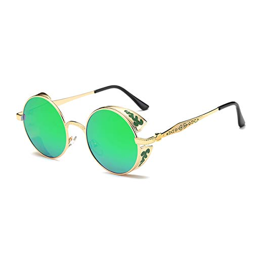 SZ·LINGKE Polarized Unisex Oversized Vintage Round SunGlasses For Men Women Driving Cycle Big Metal Frame Mirror Lens Retro Classical Hot Stlye SteamPunk Eye Glasses UV Protect Goggles(Golden & Green)