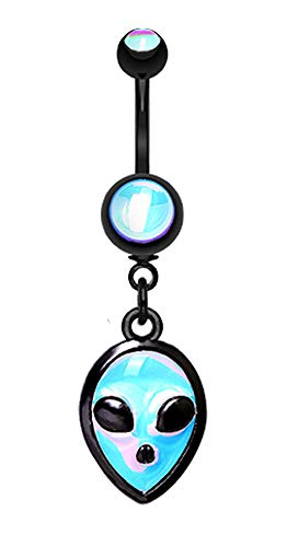 Pierced Owl Black Alien Extraterrestrial Glow in The Dark Dangling Charm Belly Button Ring