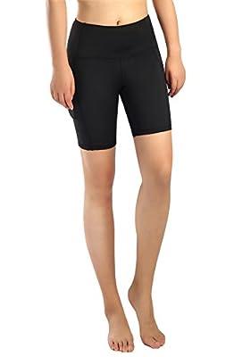 Neonysweets Womens Workout Yoga Short Pants Active Running Shorts Pocket