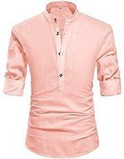 ZYFMAILY Men's Henley Neck Casual Long Sleeve Solid Linen Shirt